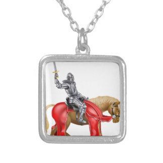 Medieval Sword Knight on Horse Square Pendant Necklace