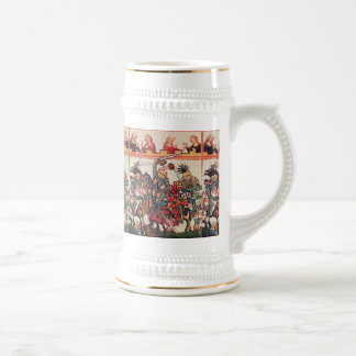 MEDIEVAL TOURNAMENT, FIGHTING KNIGHTS AND DAMSELS BEER STEIN