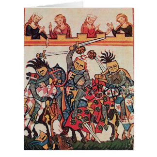 MEDIEVAL TOURNAMENT, FIGHTING KNIGHTS AND DAMSELS CARD
