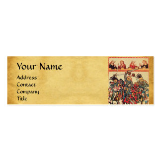 MEDIEVAL TOURNAMENT, FIGHTING KNIGHTS AND DAMSELS Double-Sided MINI BUSINESS CARDS (Pack OF 20)