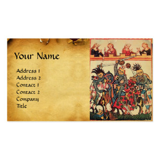 MEDIEVAL TOURNAMENT, FIGHTING KNIGHTS AND DAMSELS Double-Sided STANDARD BUSINESS CARDS (Pack OF 100)