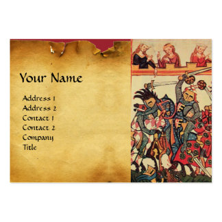MEDIEVAL TOURNAMENT, FIGHTING KNIGHTS AND DAMSELS LARGE BUSINESS CARDS (Pack OF 100)