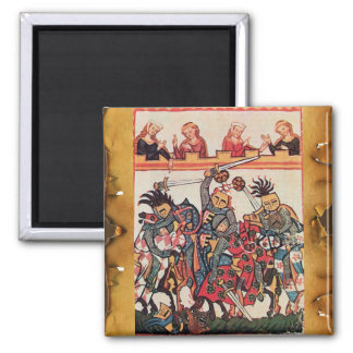 MEDIEVAL TOURNAMENT, FIGHTING KNIGHTS AND DAMSELS MAGNET