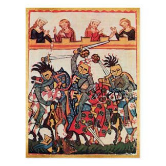 MEDIEVAL TOURNAMENT, FIGHTING KNIGHTS AND DAMSELS POSTCARD
