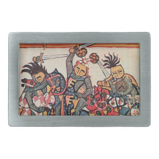 MEDIEVAL TOURNAMENT, FIGHTING KNIGHTS AND DAMSELS RECTANGULAR BELT BUCKLE