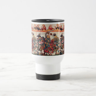 MEDIEVAL TOURNAMENT, FIGHTING KNIGHTS AND DAMSELS TRAVEL MUG