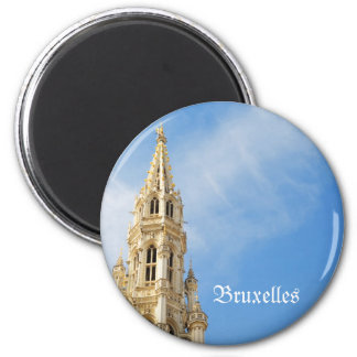 medieval Town Hall in Brussels 2 Inch Round Magnet