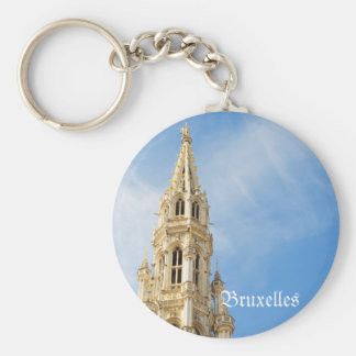 medieval Town Hall in Brussels Keychains