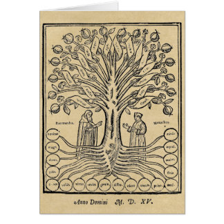 Medieval Tree of Science Greeting Cards