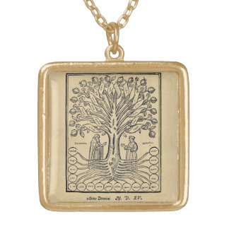Medieval Tree of the Sciences Gold Plated Necklace