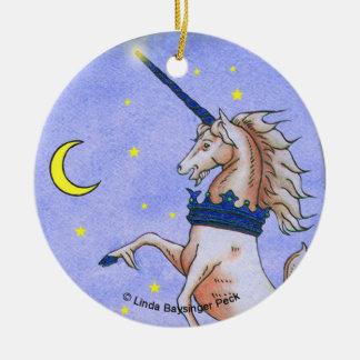 Medieval Unicorn Night Moon Stars Ceramic Ornament