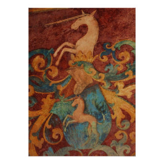 Medieval Unicorn painting POSTER