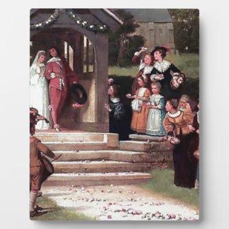 Medieval Wedding Bride Groom antique painting Plaque