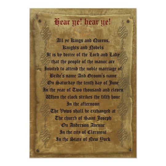 medieval wedding invitation decree template - Medieval Wedding Invitations