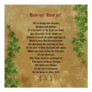 Medieval invitations announcements zazzle medieval wedding invitation parchment look stopboris
