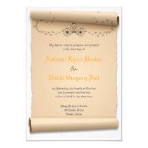 "Medieval Wedding Invitations Pumpkin Carriage 5"" X 7"" Invitation Card"