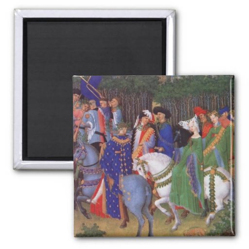 Medieval wedding procession 2 inch square magnet
