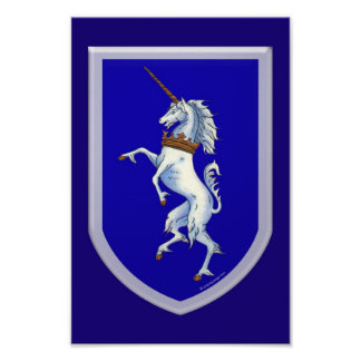Medieval White Unicorn on Blue Shield Poster