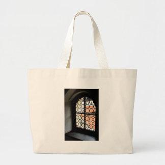 Medieval window large tote bag