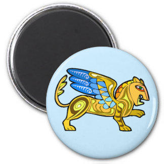 Medieval Winged Lion Gryphon 2 Inch Round Magnet
