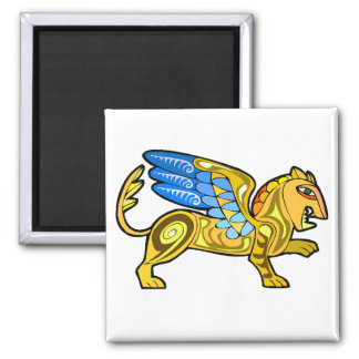 Medieval Winged Lion Gryphon 2 Inch Square Magnet
