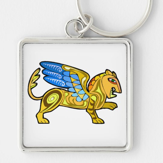 Medieval Winged Lion Gryphon Keychain