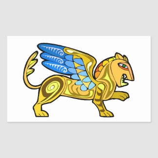 Medieval Winged Lion Gryphon Rectangular Sticker