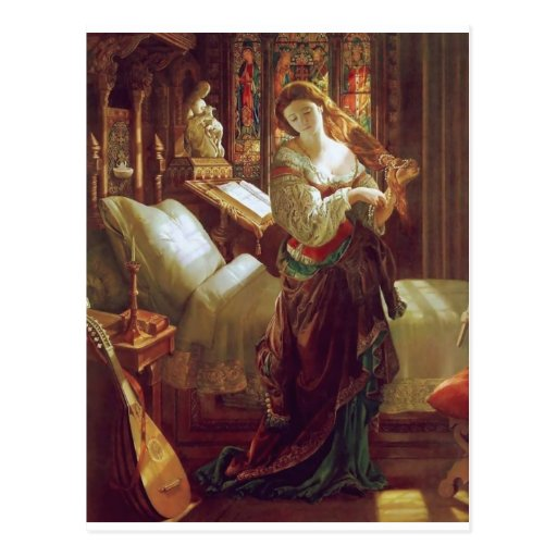 Medieval woman bedroom post card