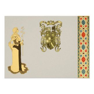 Medieval Woman Holding Branch Card