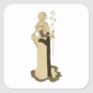 Medieval Woman Holding Branch Square Sticker