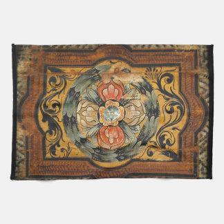 medieval wood painting art vintage old history ros hand towel