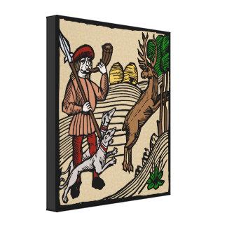Medieval Woodcut Hunting Scene Canvas Print