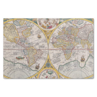 """Medieval World Map From 1525 10"""" X 15"""" Tissue Paper"""
