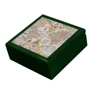 Medieval World Map From 1525 Jewelry Box