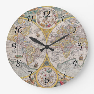 Medieval World Map From 1525 Large Clock