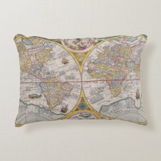 Medieval World Map From 1525 Accent Pillow