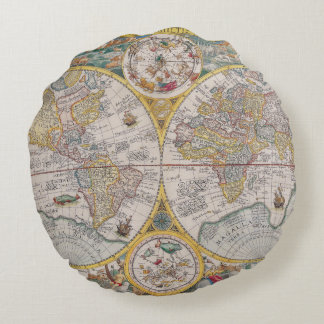 Medieval World Map From 1525 Round Pillow