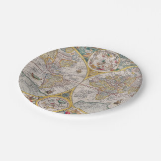 Medieval World Map From 1525 Paper Plate