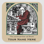 Medieval Writing Desk and Monk Bookplate Square Sticker