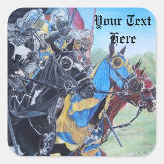 medievil knights on horses historic realist art square sticker