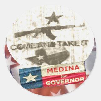 Medina For Governor Classic Round Sticker