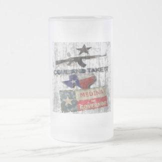 Medina For Governor Frosted Glass Beer Mug