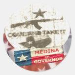 Medina para el gobernador etiquetas redondas