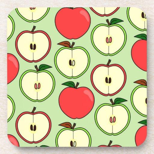Medio Apple verde y rojo imprime Posavaso