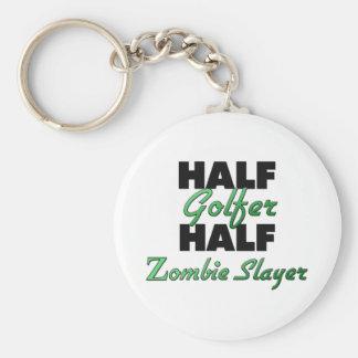 Medio asesino del zombi del medio golfista llavero redondo tipo pin