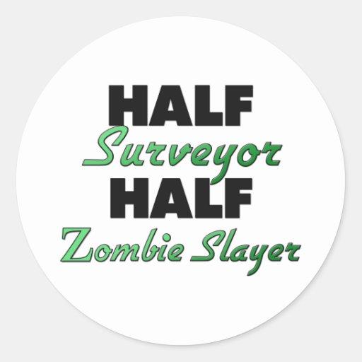 Medio asesino del zombi del medio topógrafo etiqueta