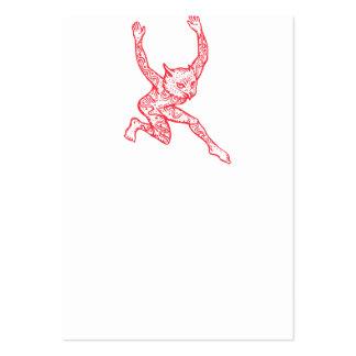Medio búho del medio hombre con el baile de los tarjetas de visita grandes