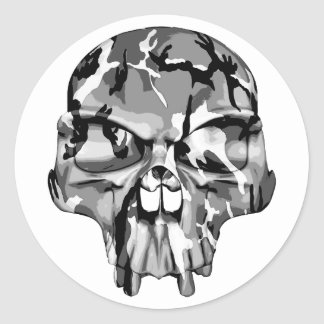Medio cráneo de Camo Pegatinas Redondas