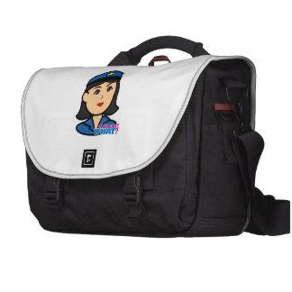 Medio de la cabeza de la mujer de la policía bolsas para portátil