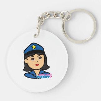 Medio de la cabeza de la mujer de la policía llaveros